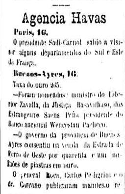 O jornal contrata os serviços da agência Havas, atual France Press