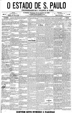 José Filinto da Silva é o gerente da Província de S. Paulo e Júlio Mesquita, o redator. 15/9/1895