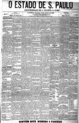 Primeiro Almanaque Estado funcionava como um guia da cidade. 19/1/1896, primeira coluna