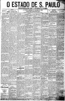"""""""A nossa vendêa"""", de Euclides da Cunha, 17/7/1897 - primeira coluna"""