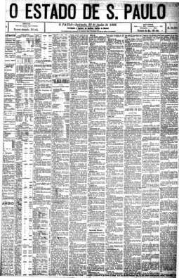 No canto esquerdo no alto da primeira página, novo endereço da Redação, 23/6/1906
