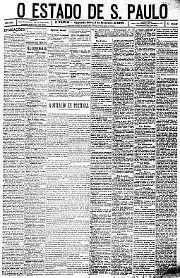 Primeira edição Extra da história do jornal, sobre o assassinato, em Lisboa, do rei. D. Carlos e de seu filho D. Luís Felipe, 3/2/1908, pág. 1
