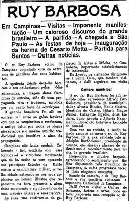 Estado apoiou a Campanha Civilista, 21/12/1909