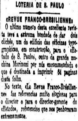 O novo prelo do estadao  na edição de 27 de março de 1912