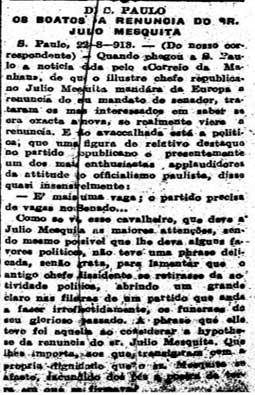 Boatos da renúncia de Julio Mesquita no Senado estadual, 28/7/1913