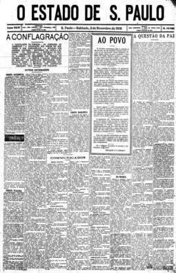 Surto de gripe espalhola em São Paulo. Nota de utilidade foi publicada na capa da edição de 2/11/1918