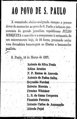 Morre Julio Mesquita, 16/3/1927