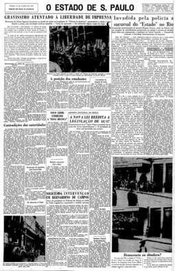 Polícia invade a sucursal do Estado no Rio, 25/8/1956