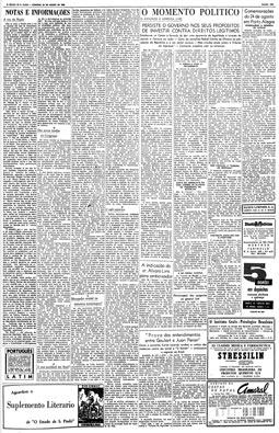 """""""Atentados representam um insulto à democracia"""", diz o editorial """"A voz da nação"""", 26/8/1956"""