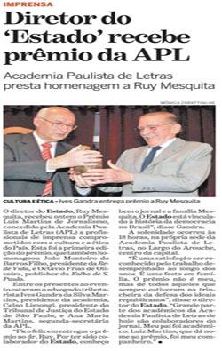 Academia Paulista de Letras presta homenagem a Ruy Mesquita, diretor do Estado