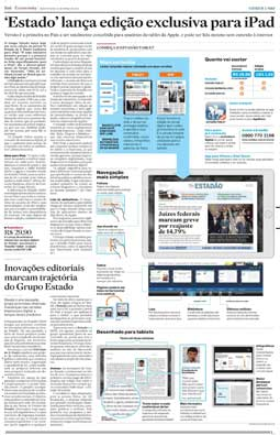 Estadão lança versão exclusiva para Ipad, 31/3/2011