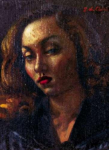 Retrato a óleo de Clarice Lispector pintado por Giorgio de Chirico, em Roma, em 1945