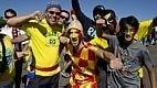 Os brasileiros foram ao estádio para apoiar a seleção belga