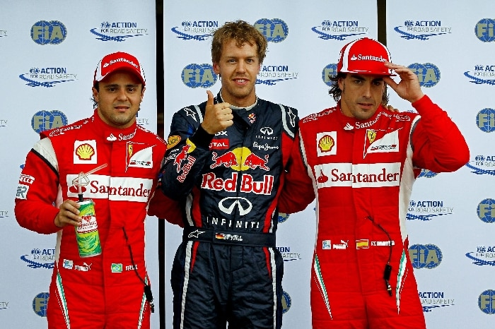Vettel comemora a pole no GP do Canadá ao lado de Massa e Alonso