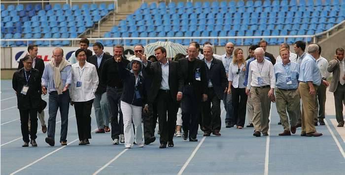 Membros do COI, entre eles os campees Sergey Bubka e Popov, visitam instalaes do Rio para 2016