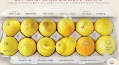 Campanha ensina a identificar sinais do câncer de mama com uma foto de limões