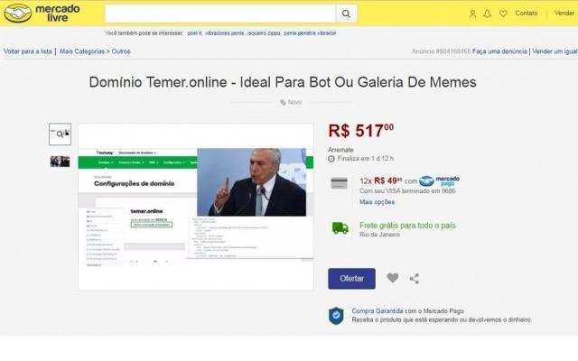 Em anúncio, vendedor diz que site é ideal para ser usado para bots ou galeria de memes com o Presidente.