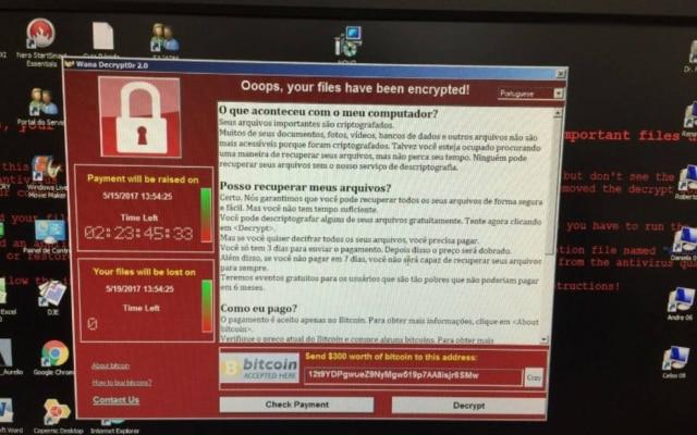 """Funcionários do Tribunal de Justiça de São Paulo divulgaram tela de seus computadores que pede pagamento para """"resgate"""" dos computadores"""