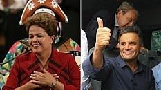 Imagens de Dilma e Aécio durante campanha à Presidência - Montagem