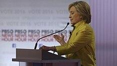 Hillary durante debate nos EUA - Jim Wilson/The New York Times