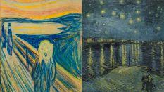 'O Grito', de Munch, ao lado de 'Noite Estrelada Sobre o Ródano', de Van Gogh - Divulgação