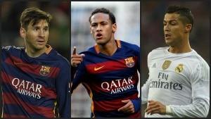 Neymar concorre ao prêmio com Messi e Cristiano Ronaldo - Montagem/Estadão