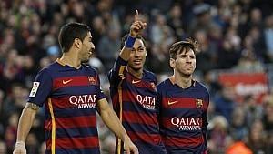 Mais uma vez, Suárez, Neymar e Messi foram os responsáveis pelos gols do Barcelona - Quique García/EFE
