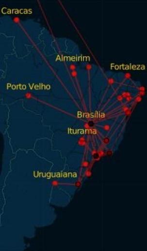 Reprodução - Mapa da viagem dos candidatos
