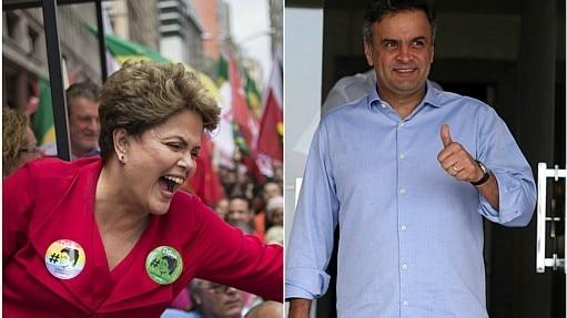 Dilma e Aécio no último dia da campanha - Montagem Estadão