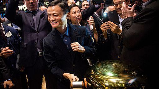 Jack Ma toca o 'sino' na Bolsa de Nova York - AFP