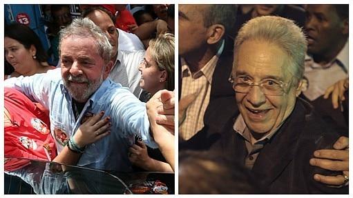 Lula e FHC em cenas da campanha - Montagem