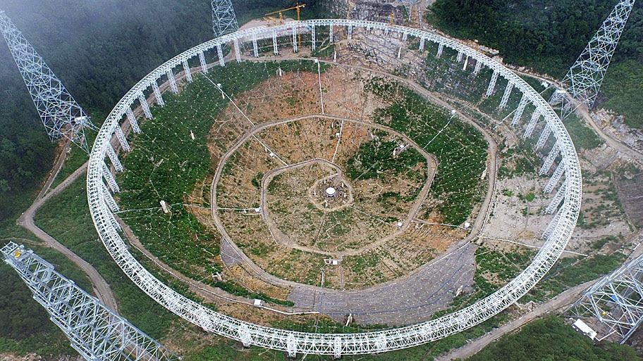 - O Aperture Spherical Radio está em construção em Pingtang, na província de Guizhou, na China, e terá o tamanho de 30 campos de futebol. Foto: AFP