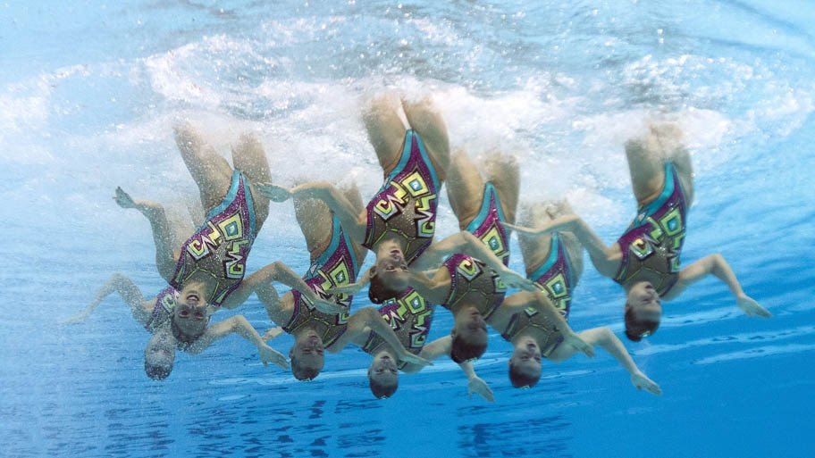 - Equipe russa de nado sincronizado que levou o ouro em Kazan , na Russia . Foto: François Xavier Marit/AFP