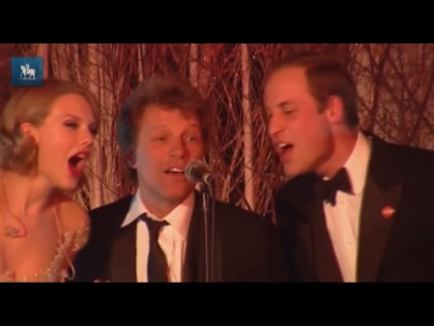 Príncipe William canta com Bon Jovi e Taylor Swift em evento de caridade