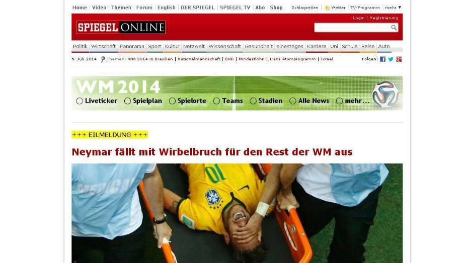 """Der Spiegel, alemão: """"Neymar sofre fratura vertebral e perde redto da Copa do Mundo"""""""