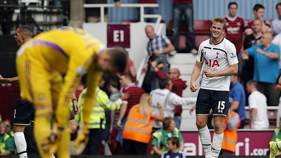Com a bola rolando, O visitante Tottenham sofreu e só conseguiu a vitória aos 47 minutos do segundo tempo, com o zagueiro Eric Dier.