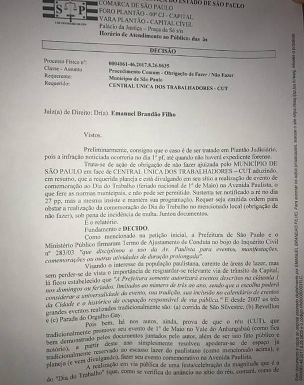 Decisão judicial proíbe ato da CUT na Paulista