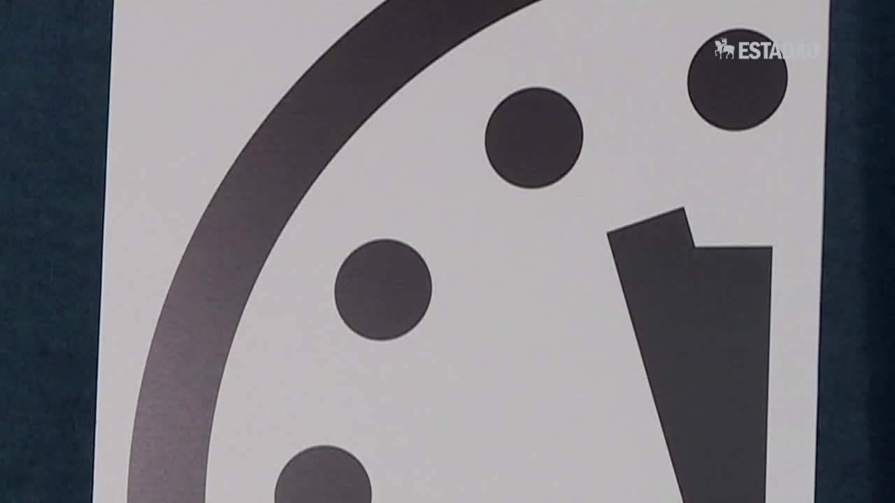 Relógio do juízo final a três minutos para meia noite