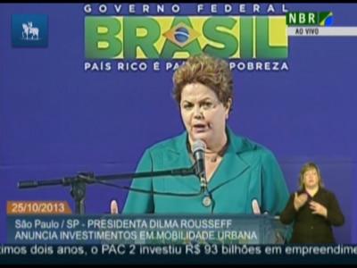 Dilma Rousseff anuncia R$ 5,4 bi para mobilidade urbana em SP