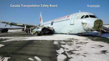Avião da Air Canada sai da pista e deixa vários feridos