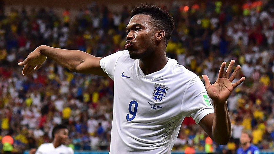 England's forward Daniel Sturridge celebrates after scoring a goal during a Group D football match between England and Italy at the Amazonia Arena in Manaus during the 2014 FIFA World Cup on June 14, 2014.  AFP PHOTO / GIUSEPPE CACACE