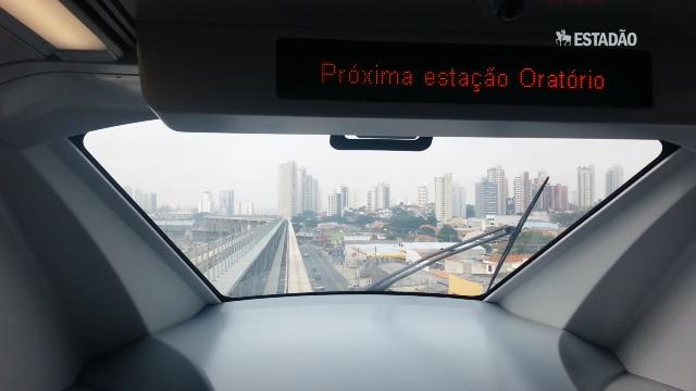 """""""Estado"""" acompanhou viagem teste do monotrilho na Vila Prudente"""