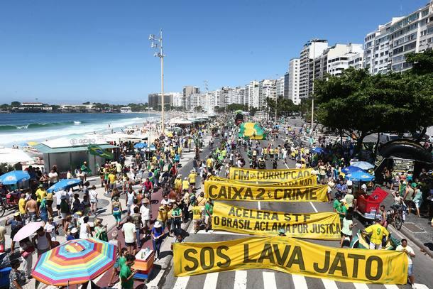 Manifestação na orla de Copacabana