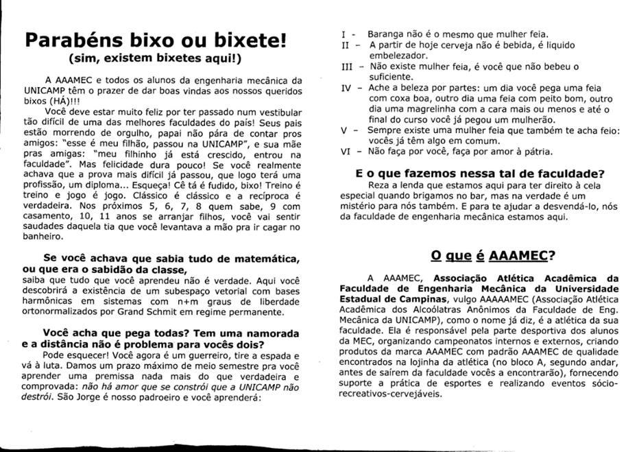 Com frases machistas, manual do 'bixo' causa polêmica na Unicamp