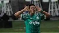 Cristaldo comemora o gol sofrido que garantiu o triunfo do Palmeiras sobre o Fluminense