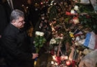 Presidente da Ucrânia, Petro Porochenko, visita a casa de shows em Paris