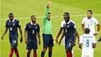 O jogador hondurenho acabou recebendo o segundo amarelo e foi expulso, e a França ganhou um pênalti.