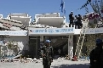 Após terremoto, militares checam danos ao quartel general da ONU