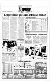 Depois do governo Sarney, o Brasil vivia o período da hiperinflação, como é possível observar nesta notícia, publicada na edição de 2 de janeiro de 1990. Naquela época, o objetivo era garantir que a inflação ficasse em 1.300% ao ano. Em 2015, índice fechou em 10,67%.