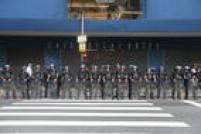 A Polícia Militar estava desde cedo na região, com homens da Rota e da Rocam